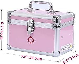 KDC Medicine Storage Box-Lock Medicine Cabinet-Compartments First Aid Box Medical Precription Storage Box 9.6 x 5.5 x 6.3 inches, Aluminum (Pink)