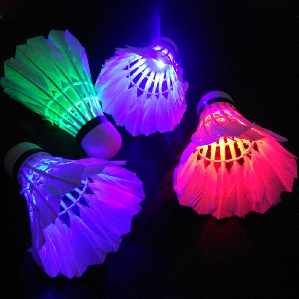 LEDバドミントンShuttlecocks、カラフルなDark Night照明グローFeather Shuttlecock、1pc B076D28L35