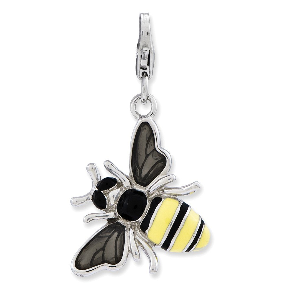 3-D Yellow Jacket Charm In 925 Sterling Silver 33x18mm