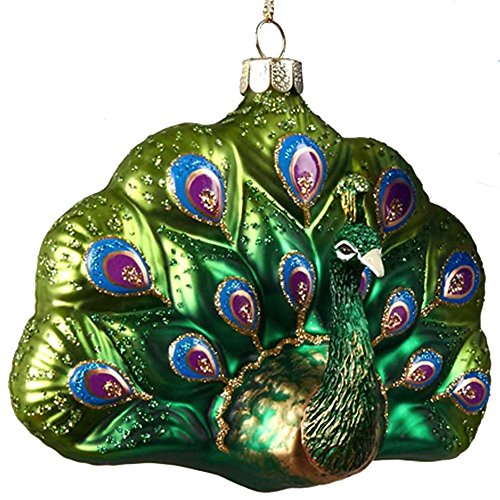 Glittered Glass Peacock Ornament (B) Greens Teals by Kurt Adler