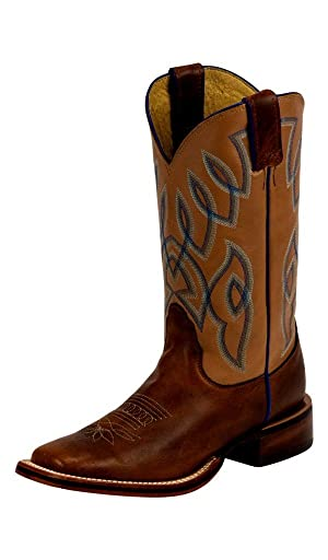 Nocona Western Boots Womens Low Square Toe 9 B Orange Brazil LD5304