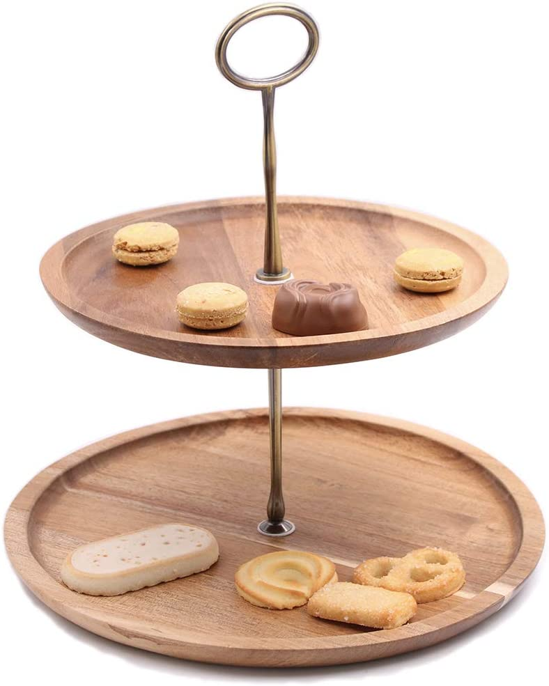 olelo 2-Tier Acacia Wood Cake Stand,Cupcake Stands Macaron Plate Cakes Desserts Fruits Snack Candy Buffet Display for Wedding Home Party Office Serving Platter