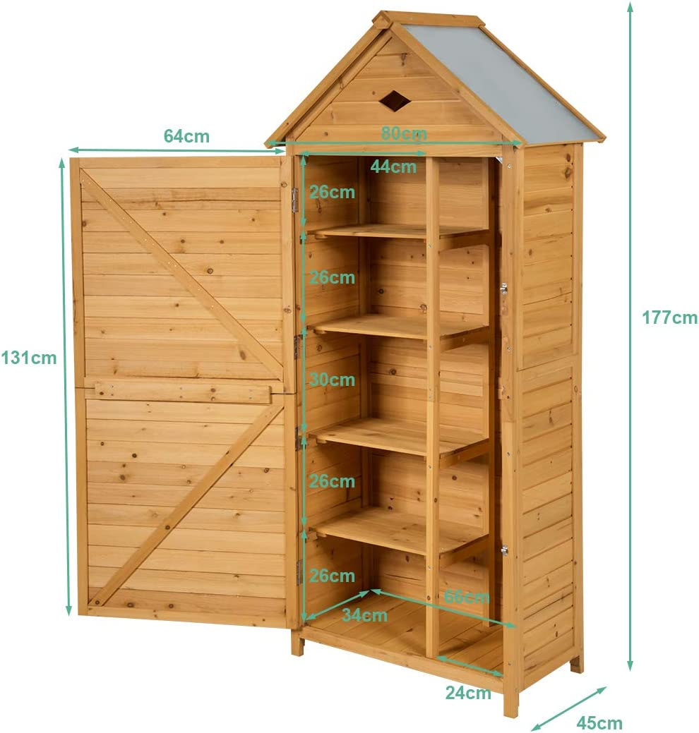 COSTWAY Wooden Garden Shed 5 Shelves Tool Storage Cabinet with Lockable Double Doors and Slope Roof Waterproof Utility Sheds for Outdoor Home