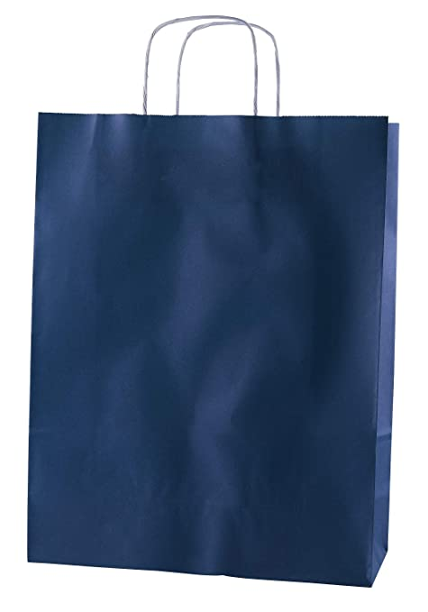 Thepaperbagstore 30 Bolsas De Papel De Colores, Reciclables Y Reutilizables, con Asas Retorcidas, Azúl - Grandes 320x120x405mm