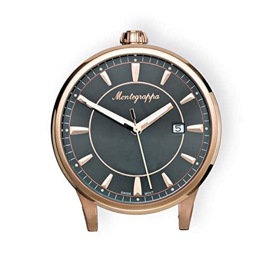 61767b27ce9 Fortuna Steel and Rose Gold Table Clocks MONTEGRAPPA IDFOTCRB   Amazon.co.uk  Watches