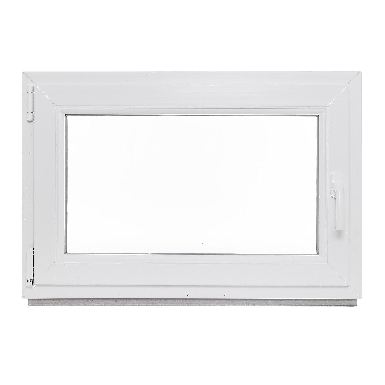 BxH 800x500 // 80x50 DIN Links wei/ß Wunschma/ße m/öglich 3-Fach-Verglasung Kunststoff Kellerfenster Lagerware Fenster