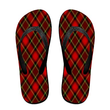 Unisex Non-slip Flip Flops Black And White Buffalo Plaid Cool Beach Slippers Sandal