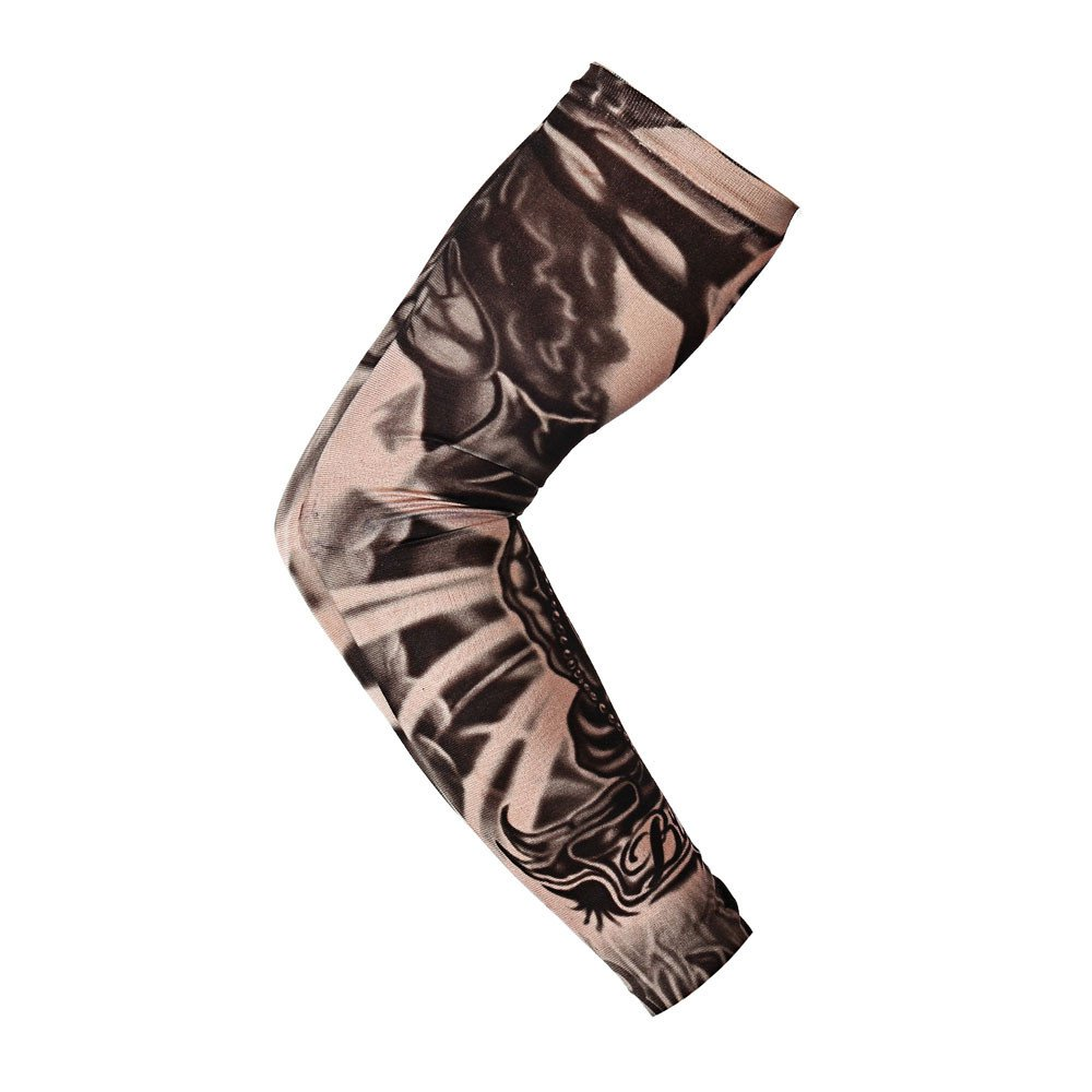 1Pc Nylon Elastic Temporary Tattoo Sleeve Body Arm Stockings UV Protection Tattoo Arm Sleeves for Men Tattoo Sleeves Cover up Full Sleeve - Running, Cycling (M)