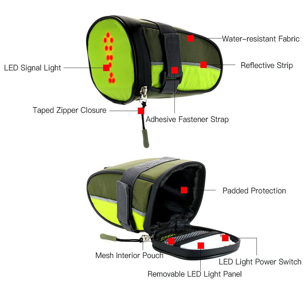 34183419b870 Amazon.com   Lixada Bicycle Saddle Bag with LED Signal Light Cycling Safety  Reflective Bike Seat Bag USB Rechargeable   Sports   Outdoors