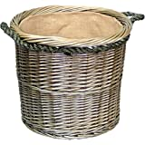 Medium Antique Wash Round Rope Handled Log Basket
