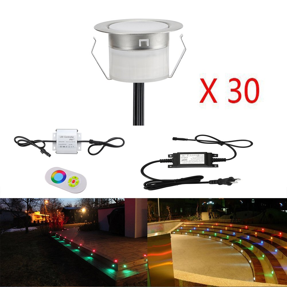 FVTLED Low Voltage 30pcs Multi-color RGB LED Deck Lights Kit 1-3/4'' Stainless Steel Recessed Wood Outdoor Yard Garden Decoration Lamps Patio Stairs Landscape Pathway Step LED Lighting