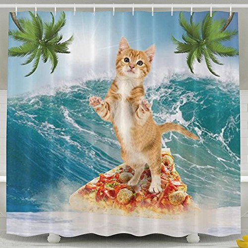 VIMUCIS Cat Surfing On Pizza Shower CurtainWaterproof Polyester Curtain Sets For Men