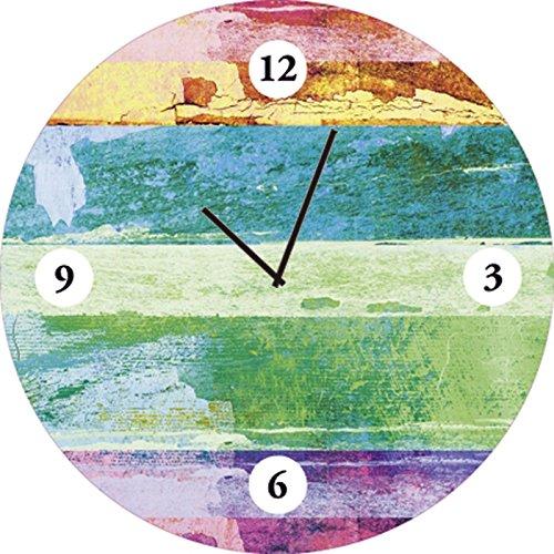 Artland Qualitätsuhren I Funk Wanduhr Designer Uhr Glas Funkuhr Größe: 35 Ø Muster Streifen Bunt D1GQ