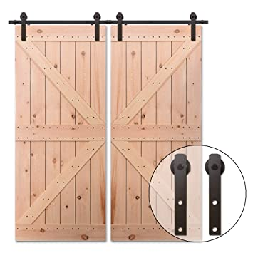 Black 12FT//365CM Rails for Sliding Barn Door Hardware Kit for Wood Interior Door
