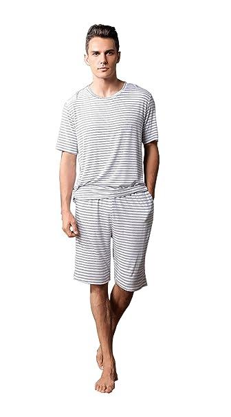 Conjunto de Pijama de Manga Corta para Hombre, Pantalón Corto Modal y Pantalón de Noche
