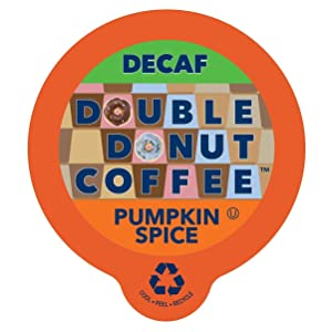Double Donut Medium Roast Decaf Coffee Pods, Pumpkin Spice Flavored, for Keurig K-Cup Machines, 24 Single-Serve Capsules per Box