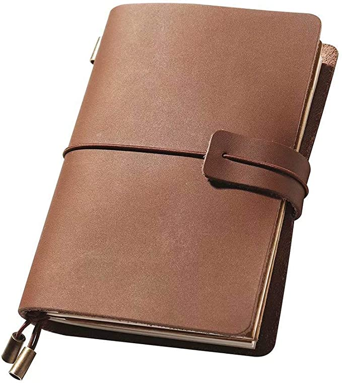 Brown Perfect for Writing Small Size 5.3 x 4 Inches Refillable Handmade Travelers Notebook Travelers Gifts Leather Travel Journal Notebook Vintage Notebook for Men /& Women
