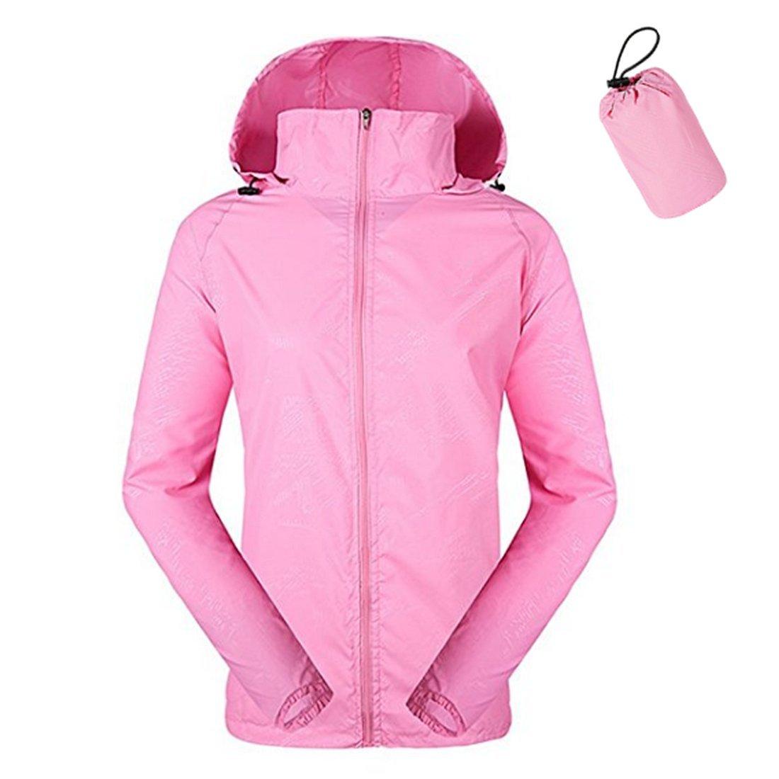 ZIMCA Unisex Packable Lightweight UV Protect Jackets Outdoor Windbreaker Quick-Dry Skin Rain Coat (Women L/Men M, Pink)
