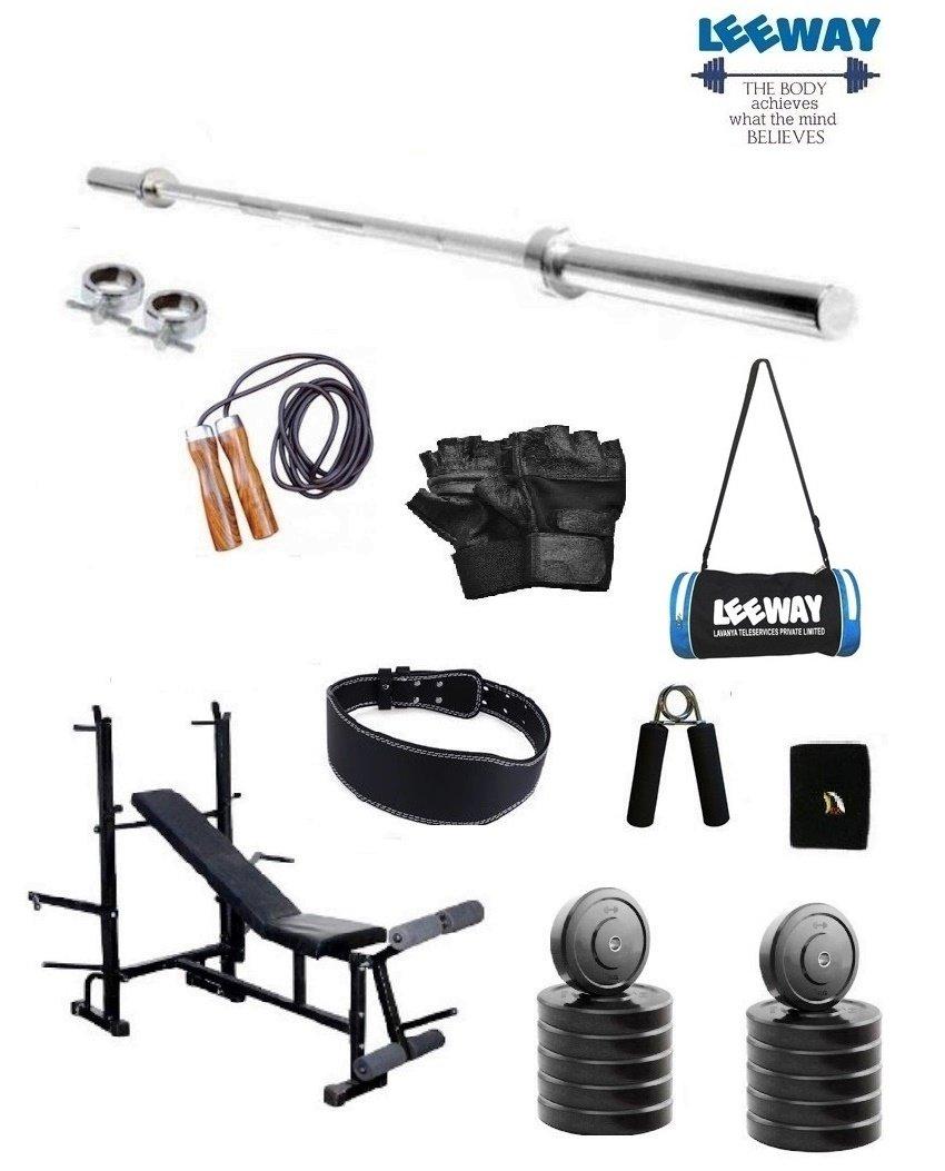 6f217cb66e8a LEEWAY Premium Quality  Home Gym Set with 5 Feet Straight Rod