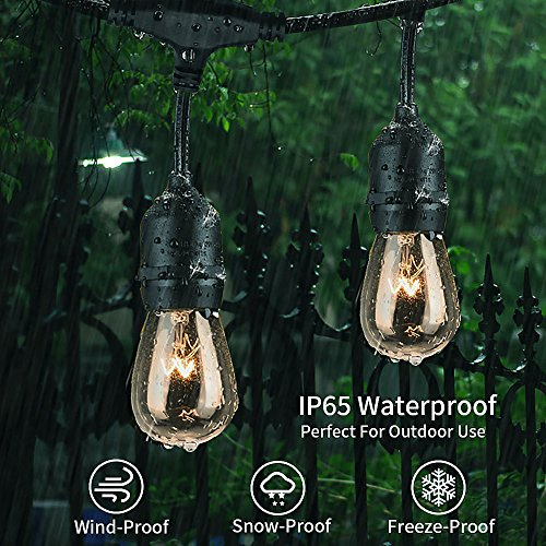 MZD8391 [Heavy Duty 48FT Commercial Grade Waterproof Outdoor Globe String Light, 18 Hanging Socket, 21 Dimmable Edison Vintage Bulb, for Backyard Patio, Garden (Warm White 48FT) by MZD8391 (Image #5)