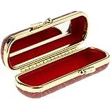Homyl Travel Lipstick Case, Leather Lipstick Storage Holder, Cosmetic Organizer Bag with Mirror