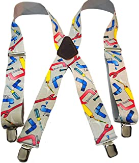 """product image for Hold-Ups 2"""" Wide Work Suspenders in Plumber Pattern X-back No-slip Clips"""