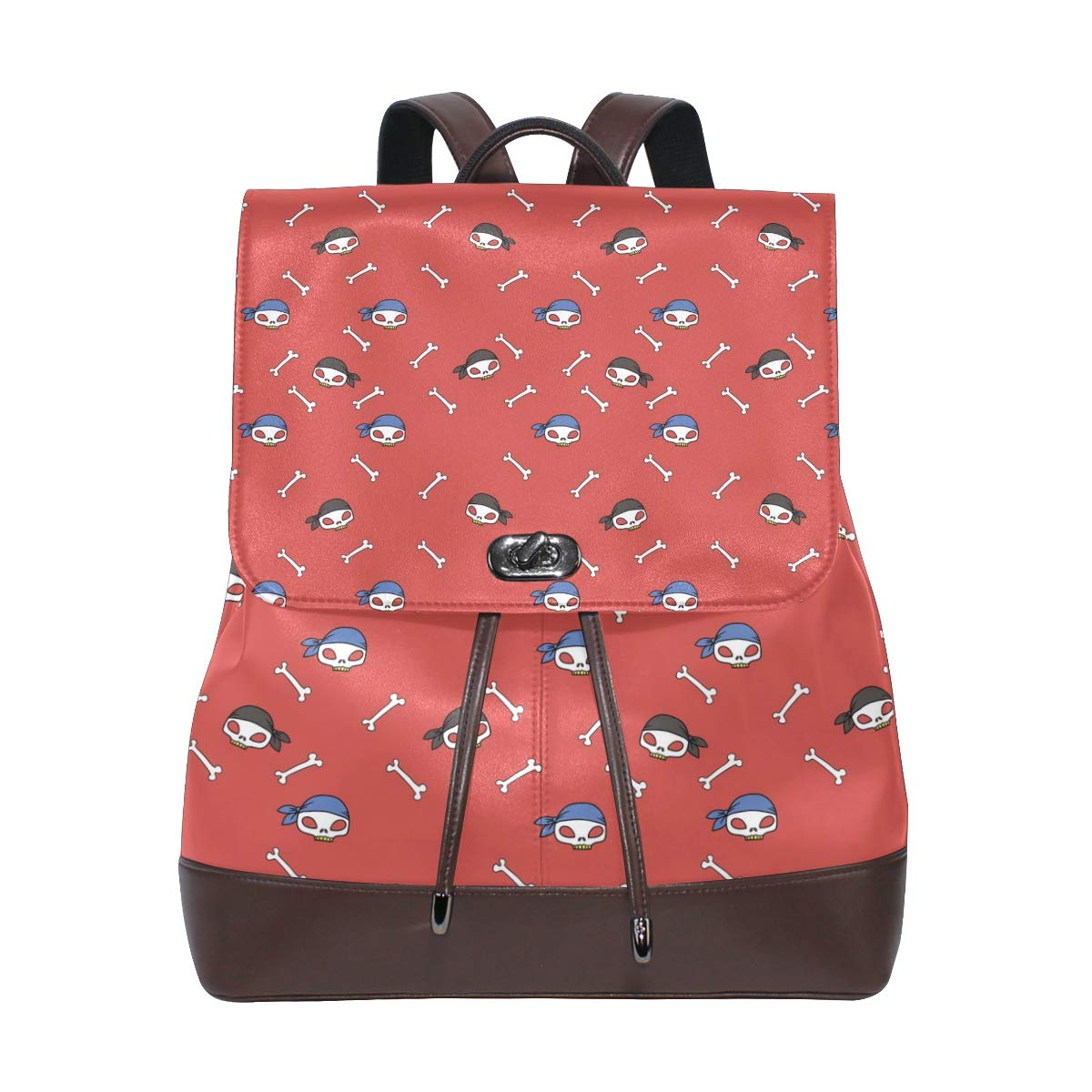Leather Pattern With Skull Backpack Daypack Bag Women