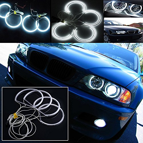 QiuKo 4pcs 3.5W CCFL LED Angel Eye Headlight Halo Ring With White Color For BMW E46 E39 E36 3 Series Coupe (white)