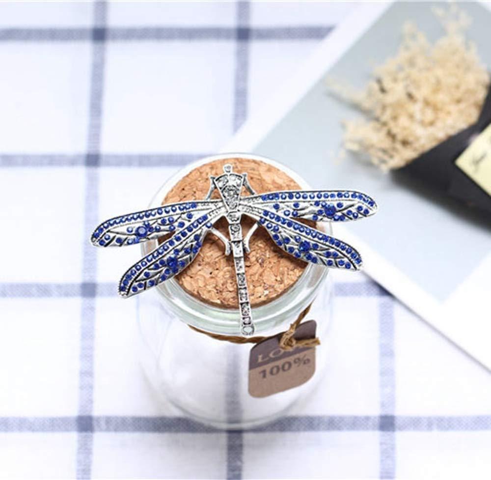 Hongge Broche Bijoux Vintage Vieux Libellule Bleu Noble élégant Cent Tours Insectes complète Diamond Robe Broche,Cadeau de Haute qualité