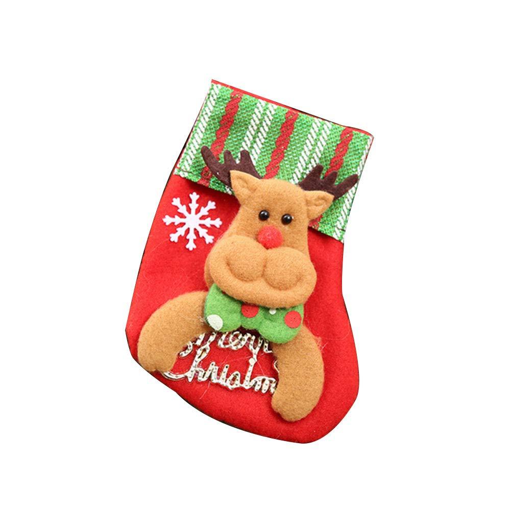 YaptheS Mini Christmas Stockings Little Christmas Stockings Gift and Treat Bags Christmas Hanging Socks for Xmas Tree, Home, Garden Decor (Elk Style) Christmas Gift