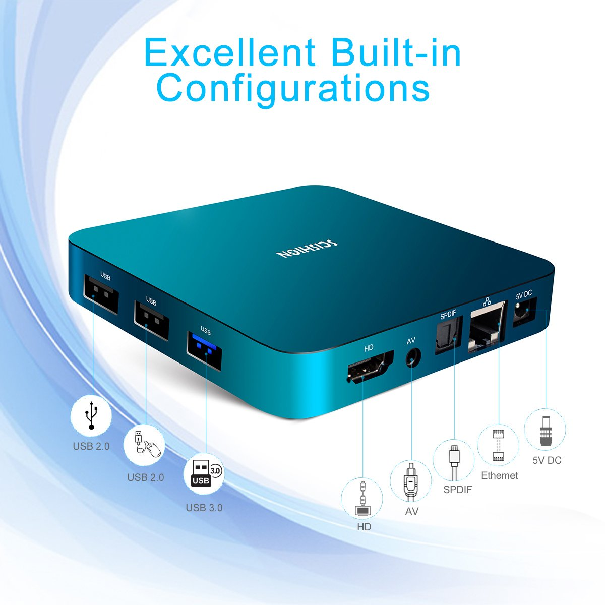 Android 8.1 TV Box with Voice Remote, RK3328 Quad Core 64bit 2GB DDR3 16GB eMMC Memory Smart TV Box with Bluetooth 4.0 WiFi Ethernet HDMI HD 4K Media Player Set Top Box by YAGALA (Image #7)