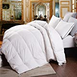 Topsleepy Goose Down and Feather Filling King Size Comforter,100% Cotton Down Proof Shell,Natural Material Duvet Insert ,White Comforter (King size 102-by-90 inch)