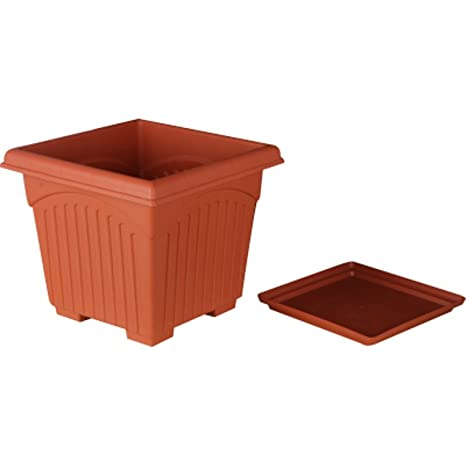 First Smart Deal 10 Inch Plastic Square Planter with Tray Pack of 10 - Brown