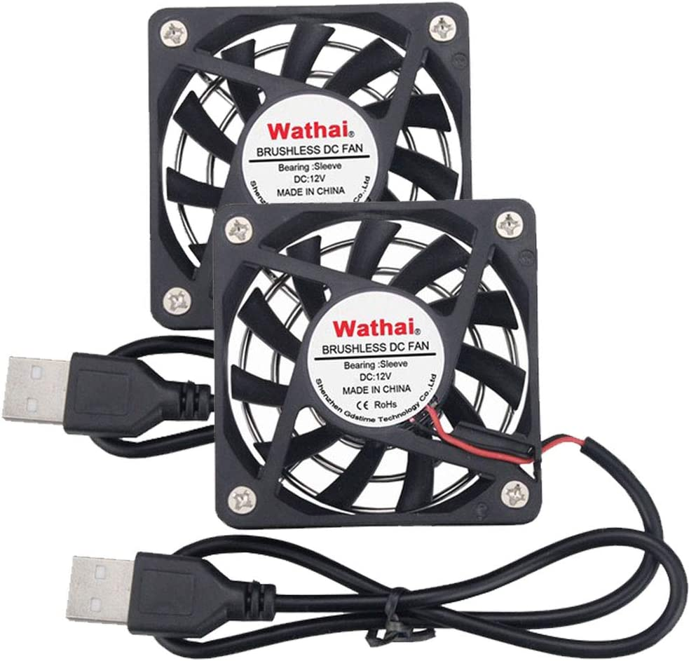 2 Packs Wathai 60mm x 10mm USB Fans DC Brushless Cooling Fan