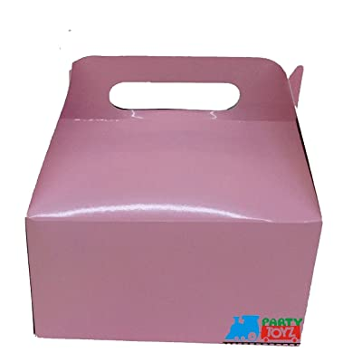 12X Solid Color Pink Paper Treat Boxes