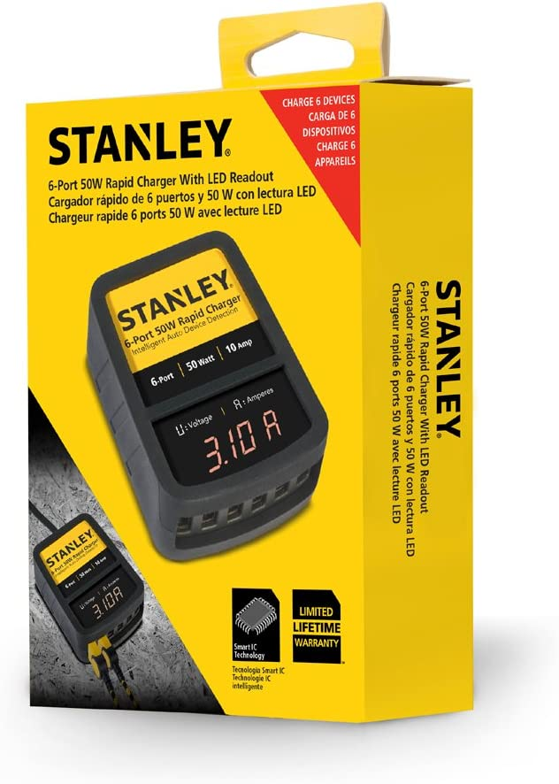 Stanley Rugged 6-Port 50 Watt 10 Amp USB Rapid Charger with Smart Charging Chip and LED Power Display