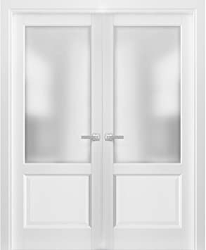 French Double Panel Lite Doors 48 X 96 With Hardware Lucia 22 Matte White With Frosted Opaque Glass Pre Hung Panel Frame Trims Bathroom Bedroom Interior Sturdy Door Amazon Com