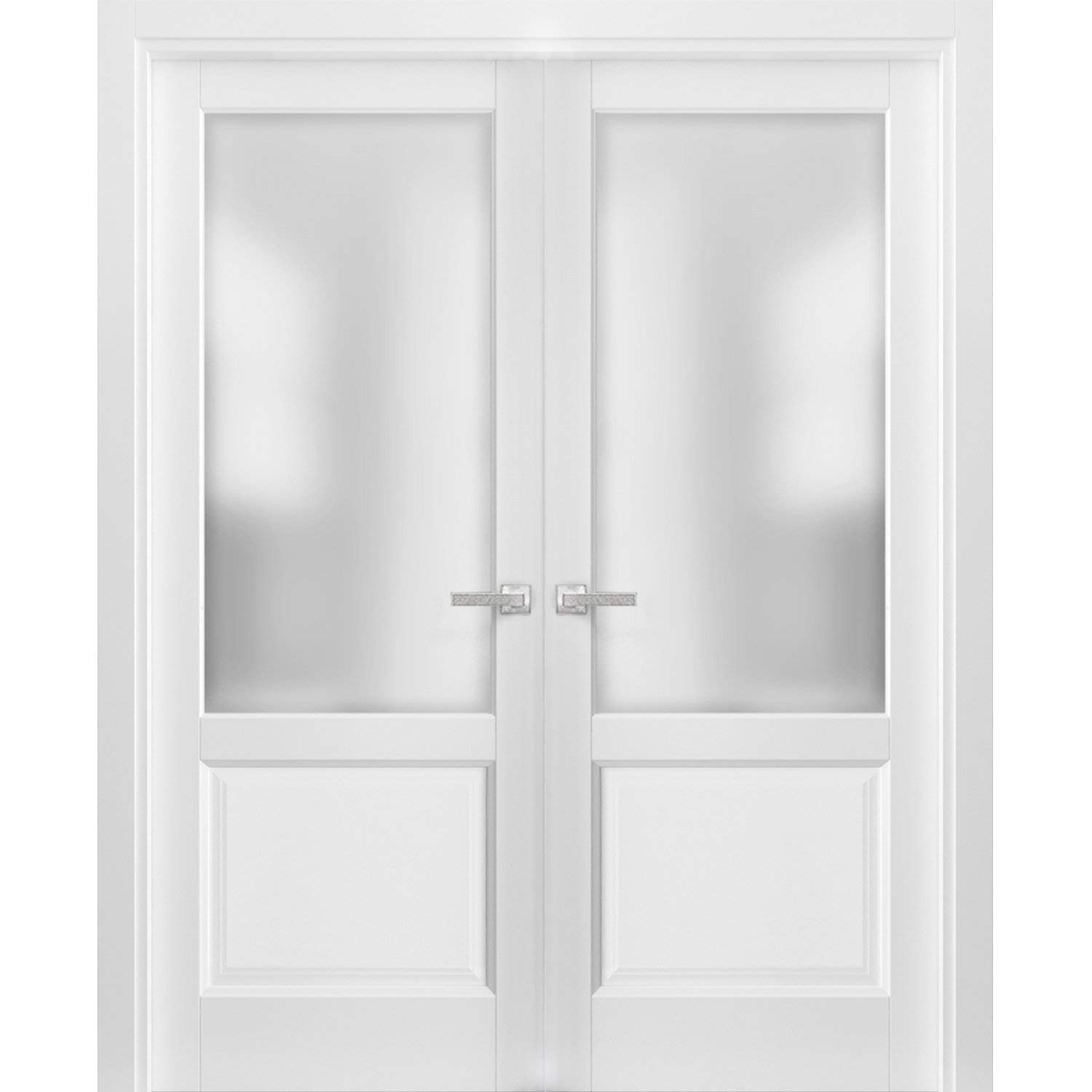 French Double Panel Lite Doors 60 x 84 with Hardware Pre-Hung Panel Frame Trims Lucia 22 Matte White with Frosted Opaque Glass Bathroom Bedroom Interior Sturdy Door
