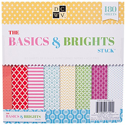 American Crafts 8 x 8 Inch Basics & Brights 180 Sheets Die Cuts with a View - Scrapbook 8 Paper X 8