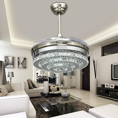 Lighting Groups Invisible Reversible Ceiling Fans 3 Circles Crystal Ceiling Fan Lamp-42 inch Transparent Retractable Blades Remote Control Fans Chandelier