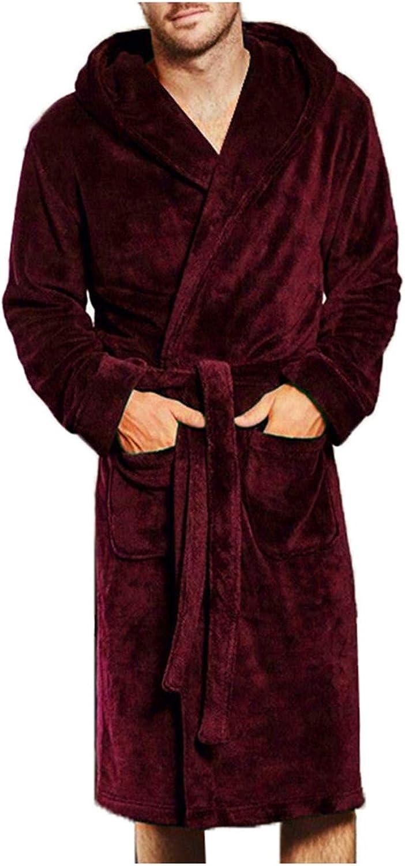 New Winter Bathrobe Robes with Belt Men Warm Fleece Lounge Fur Soft Plus Size Hooded Lounge Robe Homme Red Wine