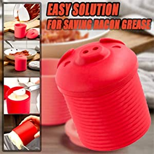 Bacon Grease Container - Bacon Silicone Grease Container with Strainer - Oil Grease Storage Pot for Kitchen - Bacon Grease Drippings Keeper