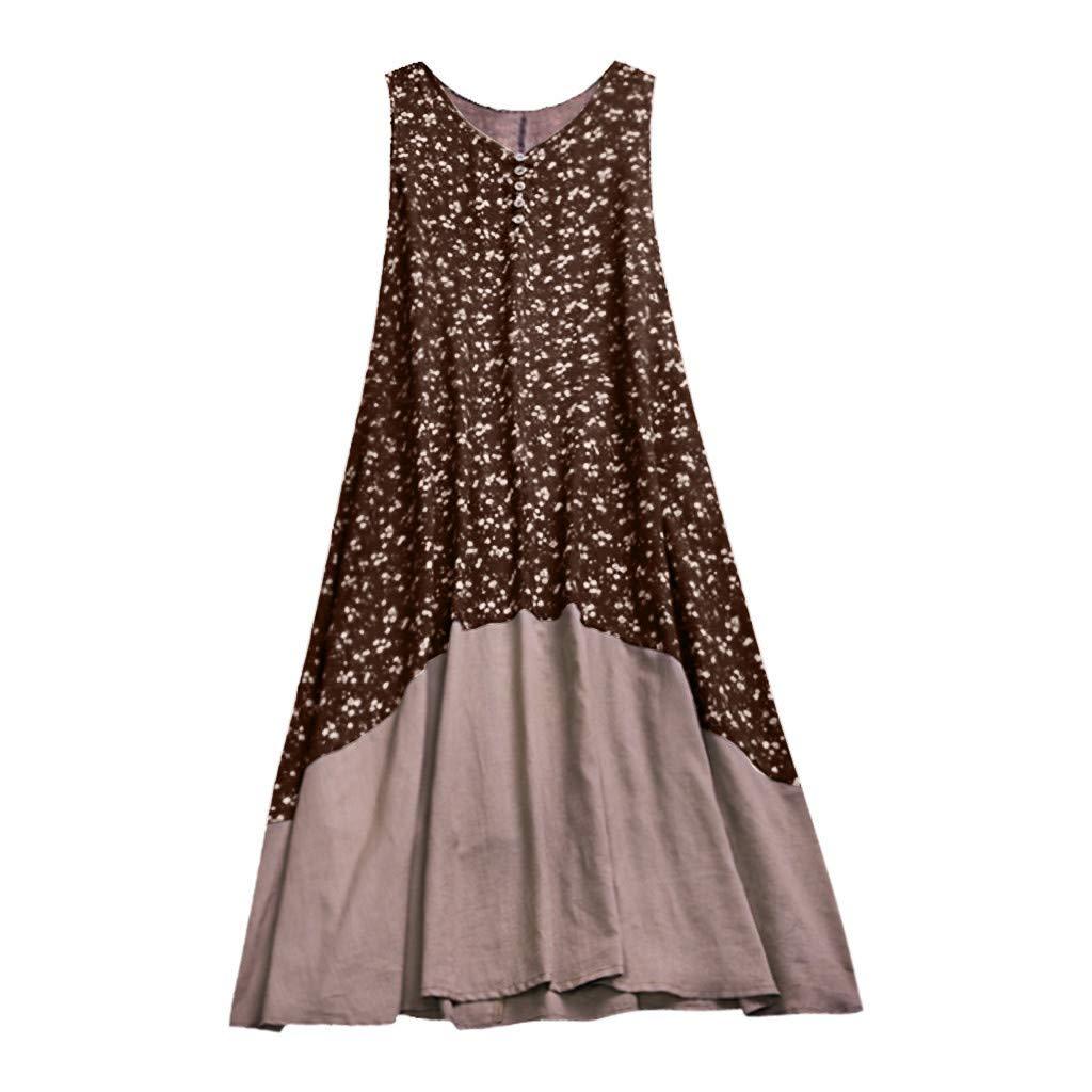 Alangbudu Women Cotton Linen Casual Sleeveless T Shirt Dresses Beach Cover up Plain Pleated Tank Floral Long Maxi Dress Coffee