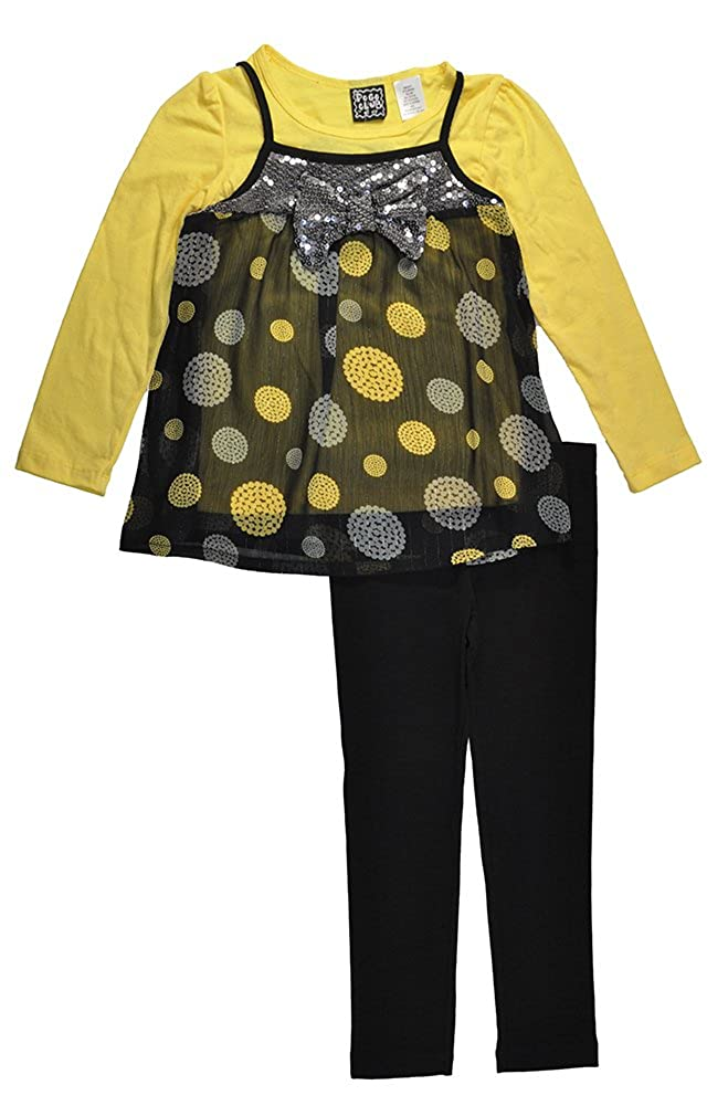 Pogo Club Little Girls Printed Chiffon Tunic 3pc Legging Set