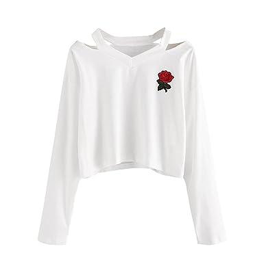 Camisetas Mujer Manga Larga Crop Sudaderas Originales Basicas T-Shirt Tops V Cuello Fashionista Impresión Floral Camisas Otoño Casual Fiesta Elegantes ...