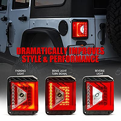 Xprite LED Tail Lights for 2007-2020 Jeep Wrangler JK JKU w/Red Lens Brake Taillights - (DOT APPROVED) - Rival Series: Automotive
