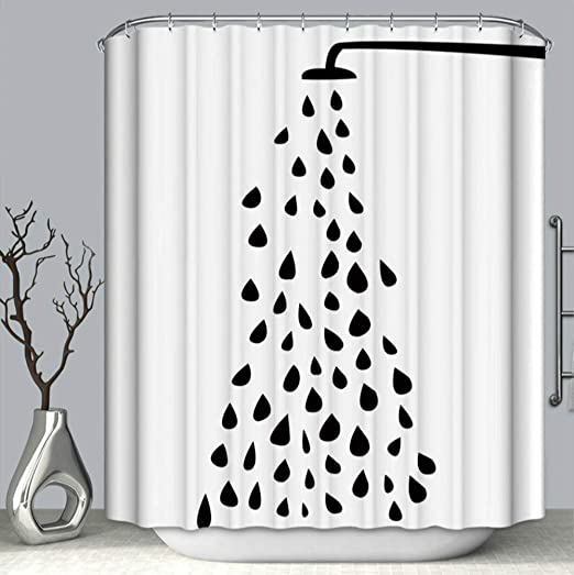 Amazon Com Cute Black And White Shower Curtain Hd 3d Printing