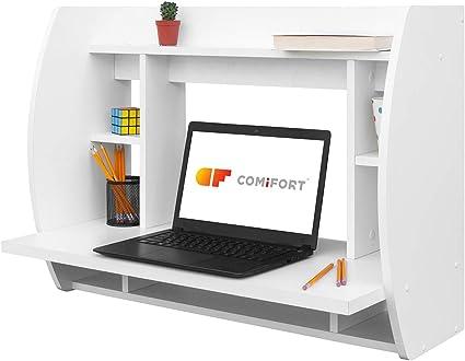 Oferta amazon: COMIFORT Escritorio Colgante - Mesa de Pared con Librería de Estructura Firme, Moderna y Minimalista con Baldas Espaciosas y de Gran Capacidad, Color Blanco
