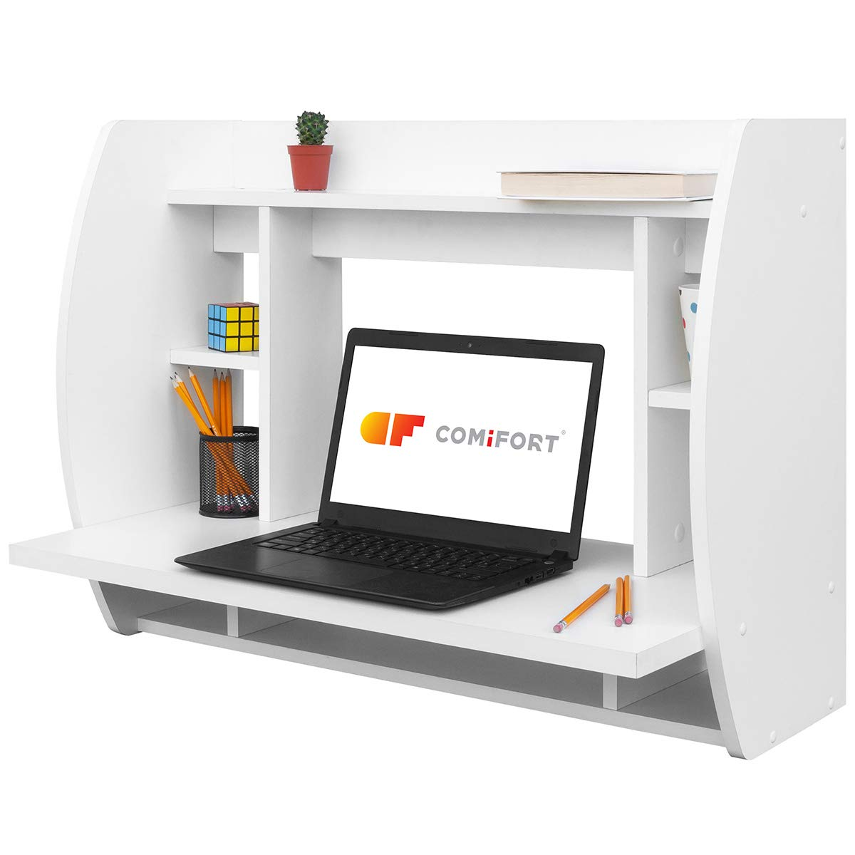 Comifort - Scrivania/tavolo per PC da parete, 82x 39x 60cm bianco