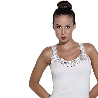 Unterhemden für Damen in weiß 4er Set Baumwolle Trägerhemden mit Spitze